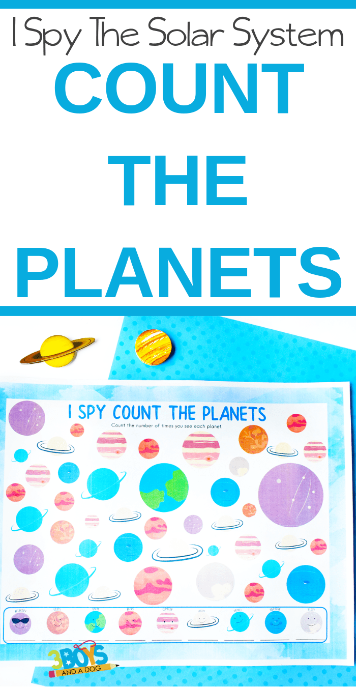 photograph relating to Planets Printable referred to as I Spy Printable Depend the Planets 3 Boys and a Pet dog
