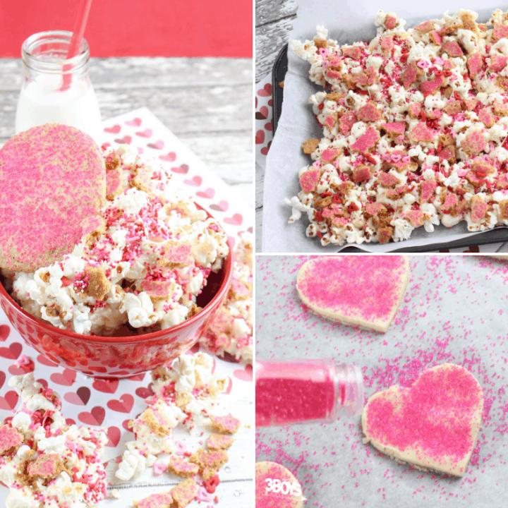 valentine white chocolate popcorn snack