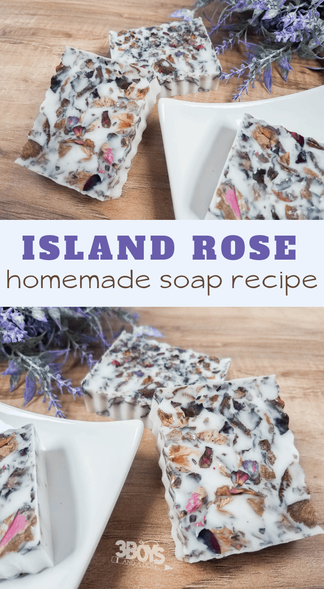 coconut rose soap homemade using essential oils