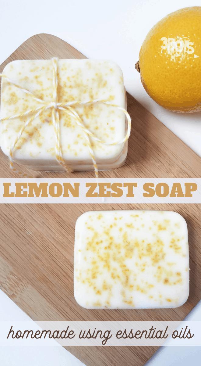 invigorating lemon zest soap made using melt and pour method
