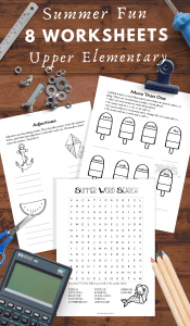 fun summer themed worksheets for Upper Elementary Kids