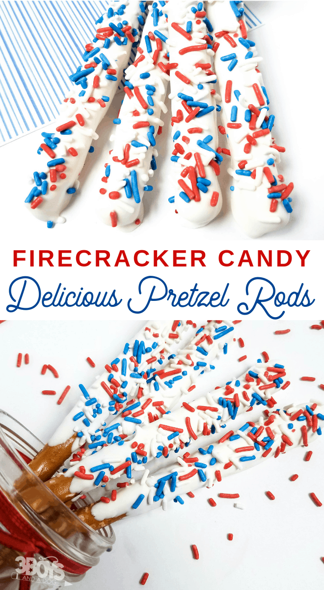July 4th Candy Coated Pretzel Sticks