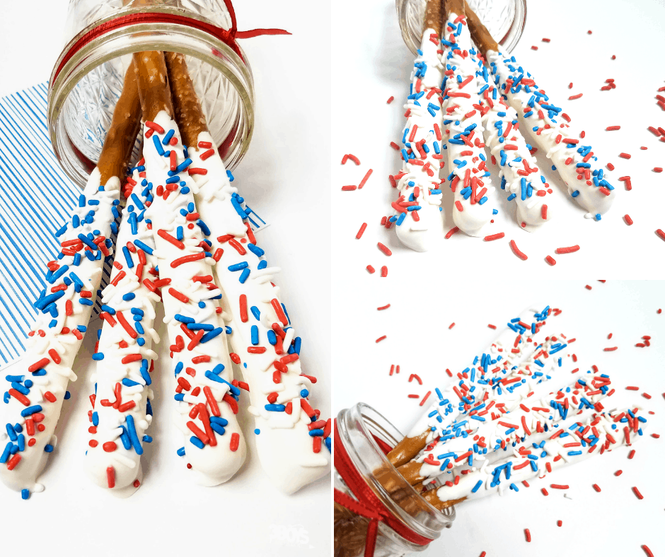 Red White and Blue Fireworks Pretzels