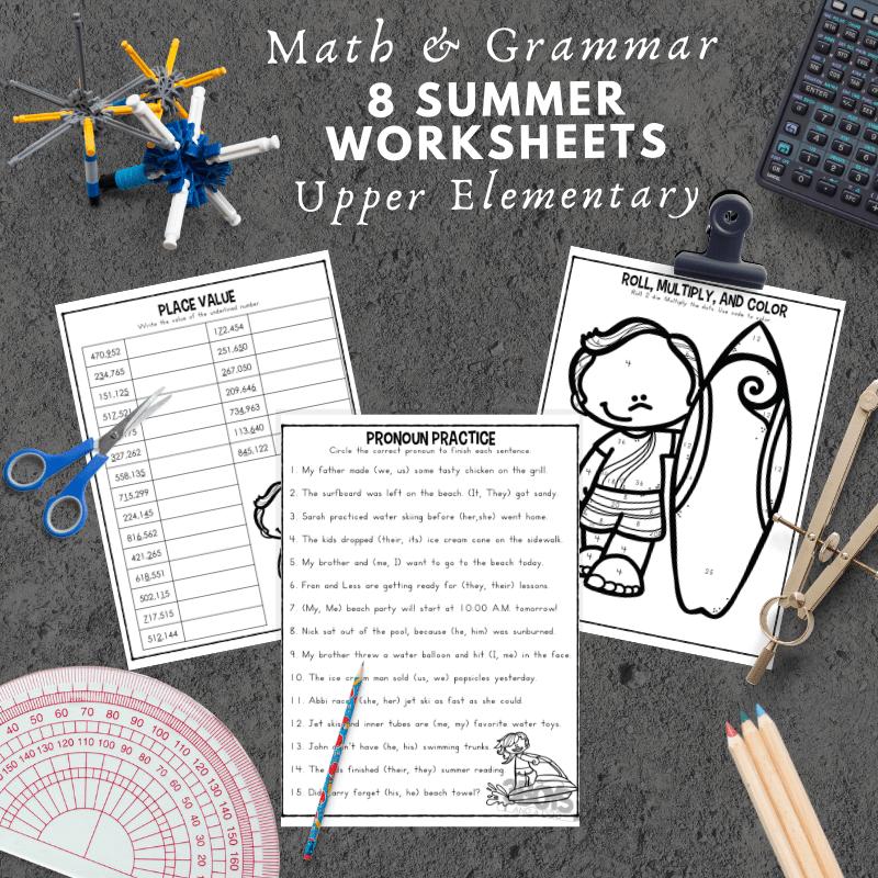 8 Summer Math and Grammar Worksheets for Upper Elementary