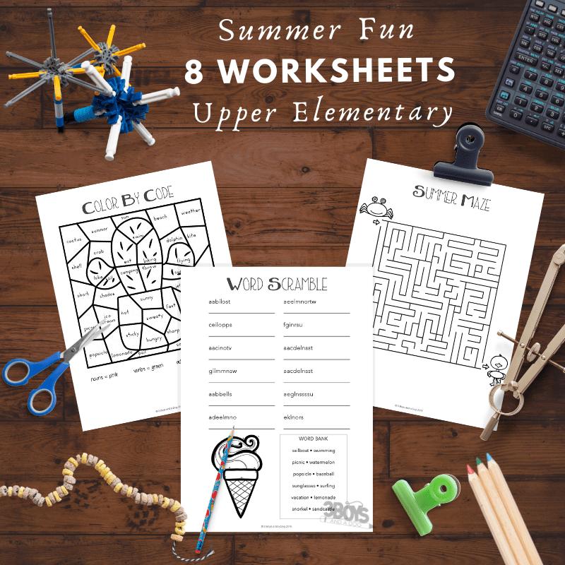 8 Summer Fun Worksheets for Upper Elementary