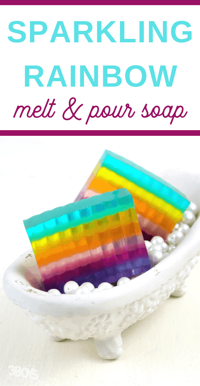 melt and pour DIY rainbow layered soap tutorial