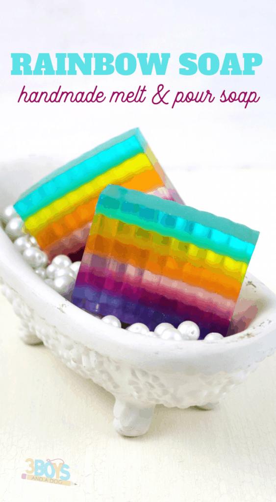 melt and pour rainbow soap tutorial