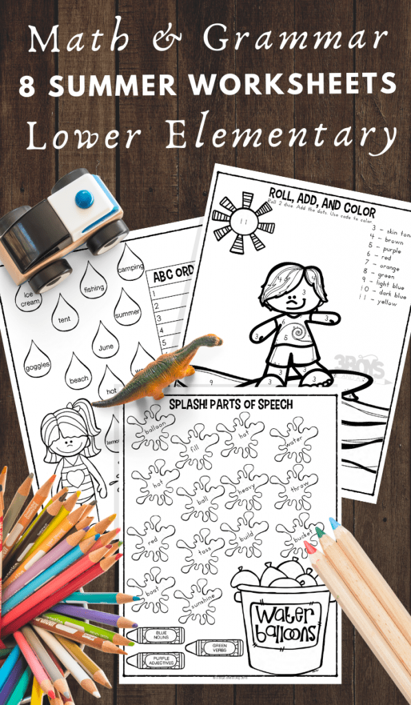 summer themed math and grammar worksheets for Lower Elementary Kids