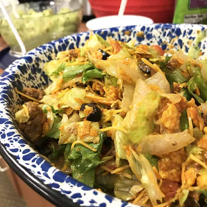 Taco Salad with Doritos and Western Dressing