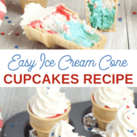 Red, White, and Blue Ice Cream Cone Cupcakes