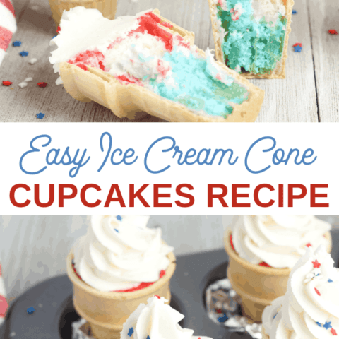Red White and Blue cupcakes made in ice cream cones