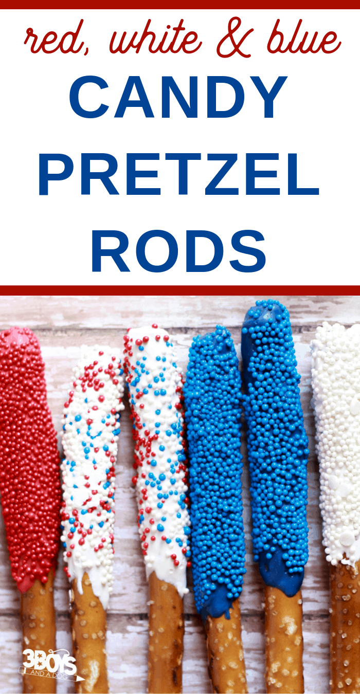 candy coated pretzels for a patriotic party USA