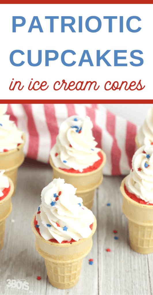 Easy ice cream cone cupcakes recipe for 4th of July