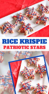 red white and blue rice krispy treat stars