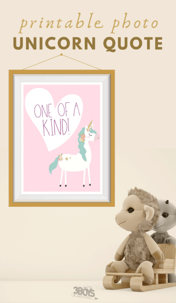 printable one of a kind unicorn quote