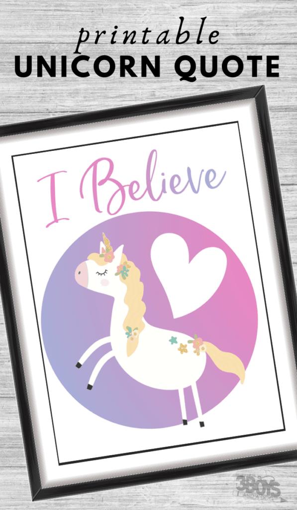 I believe unicorn quote printable