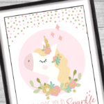 never lose your sparkle unicorn quote printable