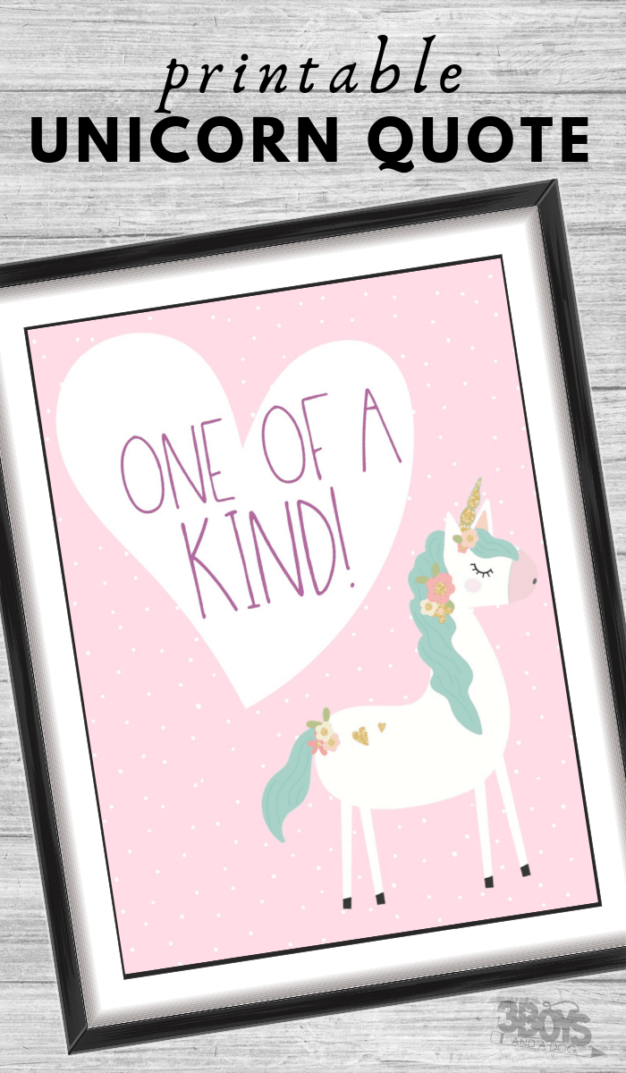 one of a kind unicorn quote printable