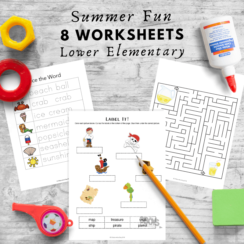 8 Summer Activity Worksheets for Lower Elementary