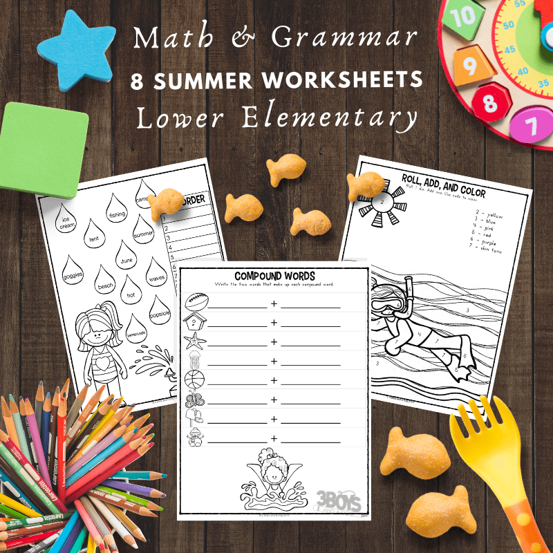 8 Summer Math and Grammar Worksheets for Lower Elementary