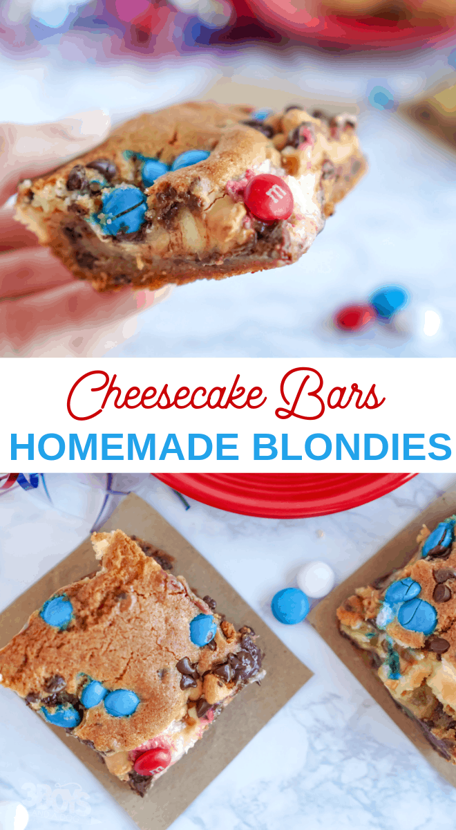 Patriotic Chocolate Chip Cookie Cheesecake Bars
