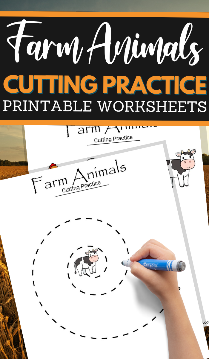 simple cutting worksheets for your Farm Unit Study