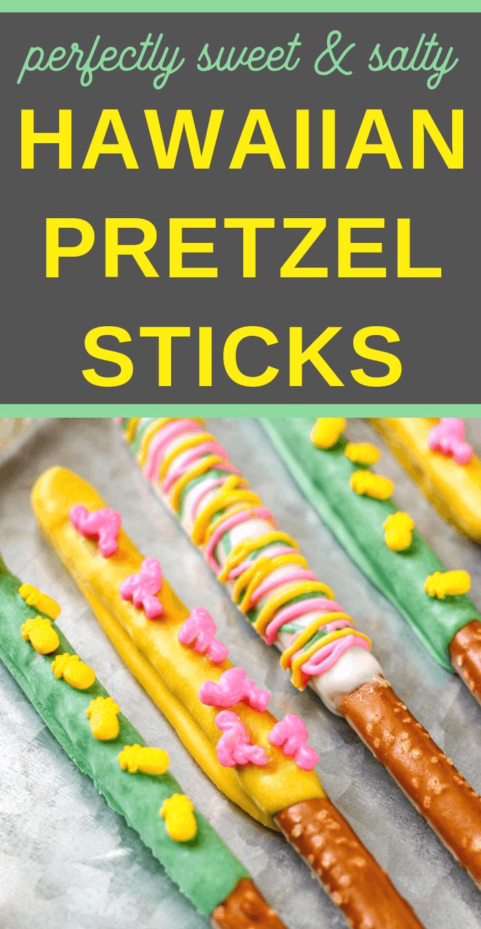 Candy Coated Hawaiian Pretzel Stick Desserts
