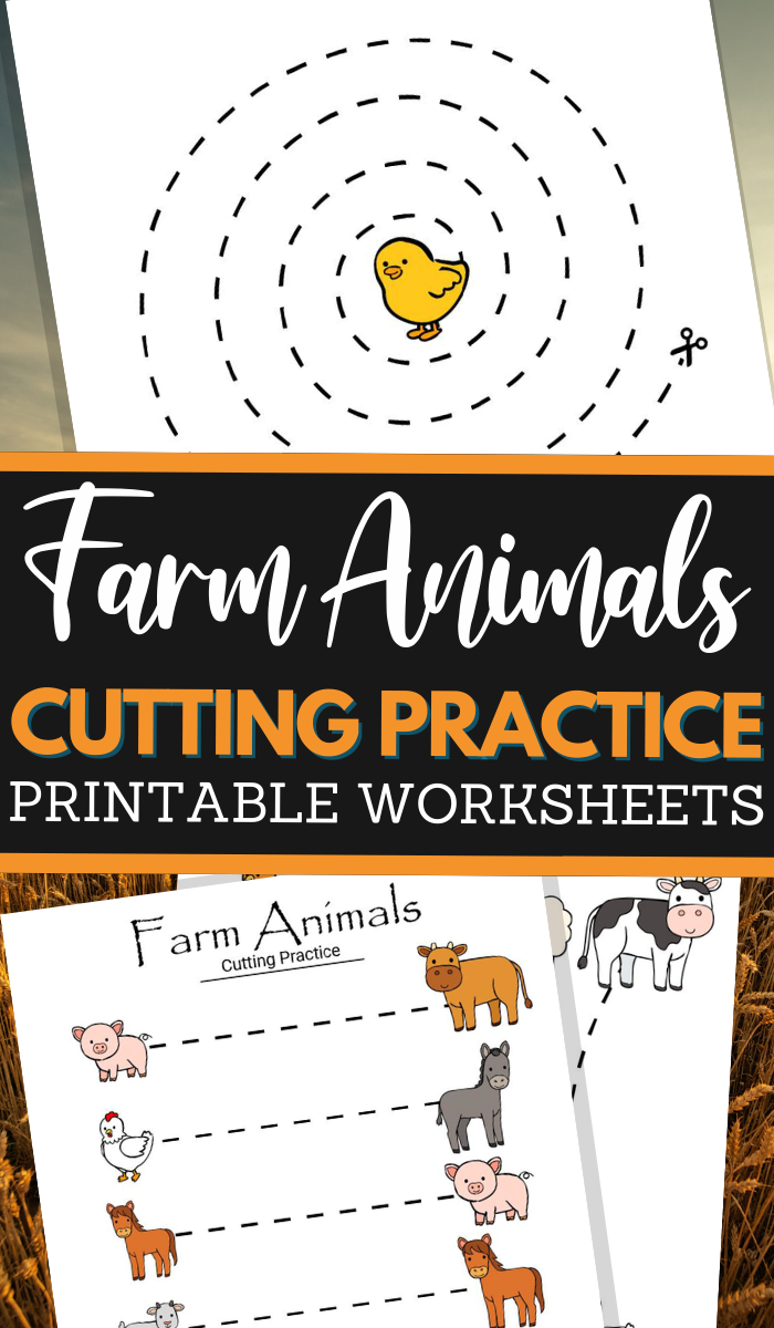 farm animals themed scissor skills sheets for fine motor practice