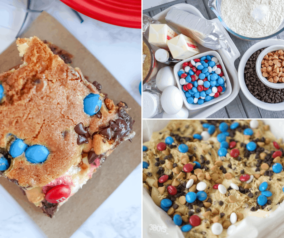 red white and blue cheesecake blondies