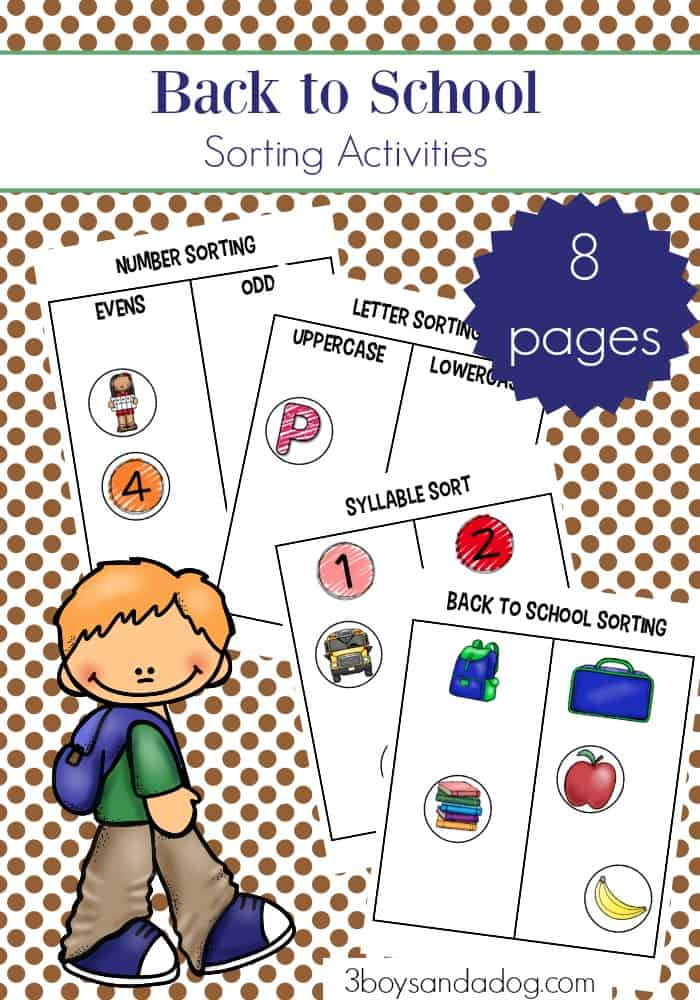 back to school sorting worksheets for preschoolers and lower elementary