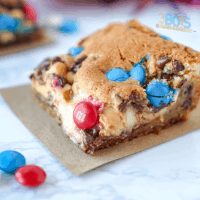 4th of July Chocolate Chip Cheesecake Bars