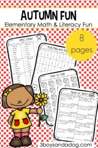 Free Printable Autumn Fun Worksheets for Upper Elementary