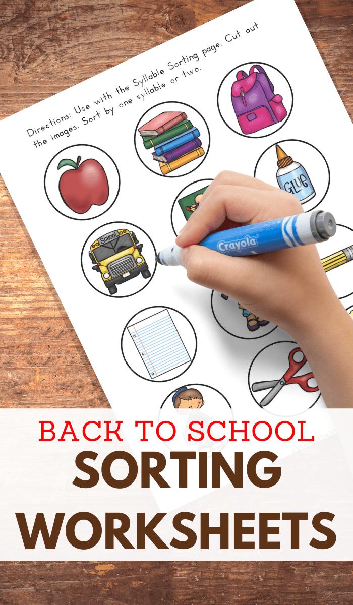 Back to School Sorting Activities for Preschoolers
