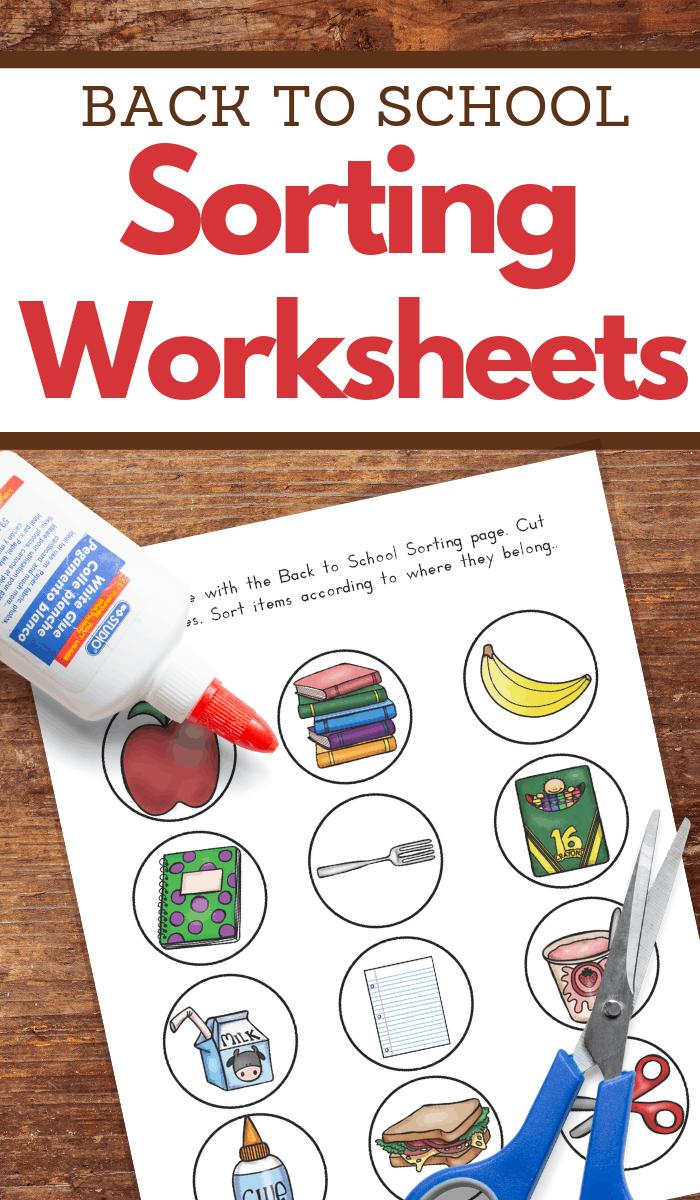 Back to school sorting worksheets