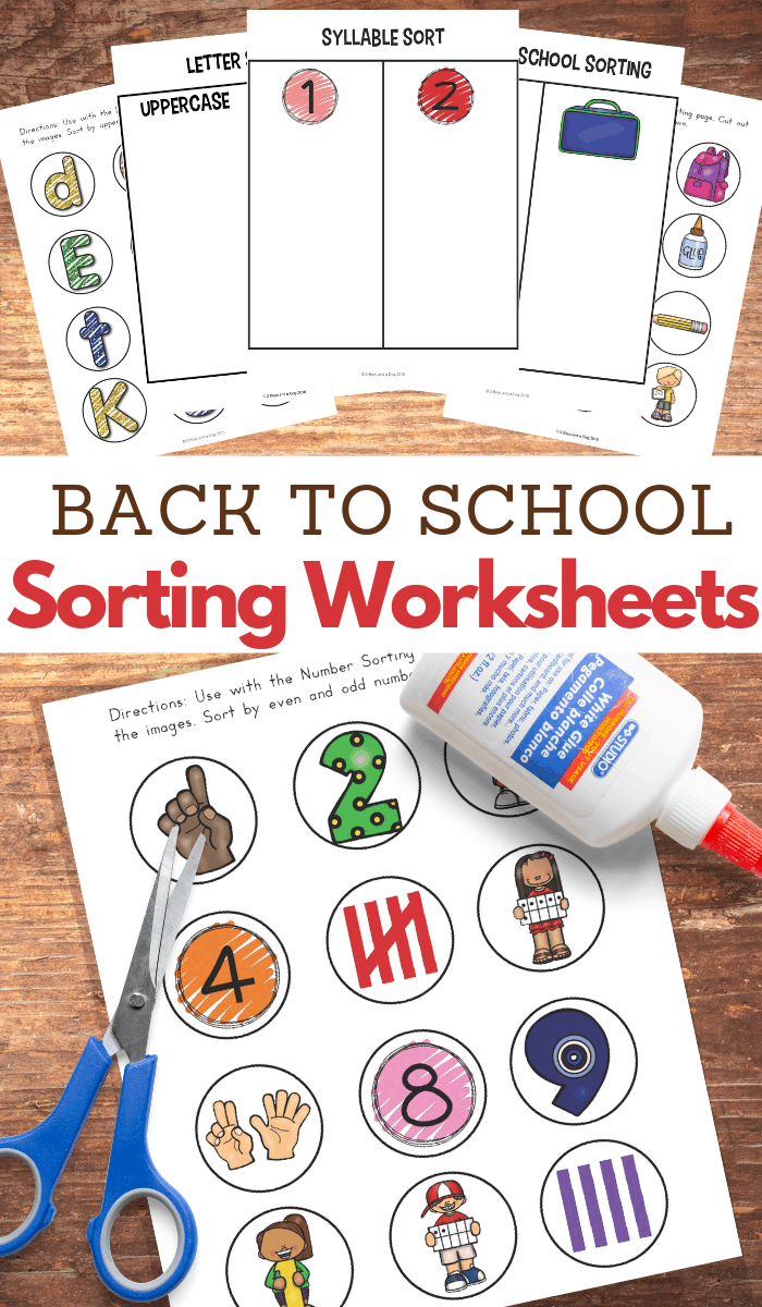 8 back to school sorting pages