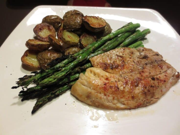 Roasted Tilapia, Potatoes, & Asparagus