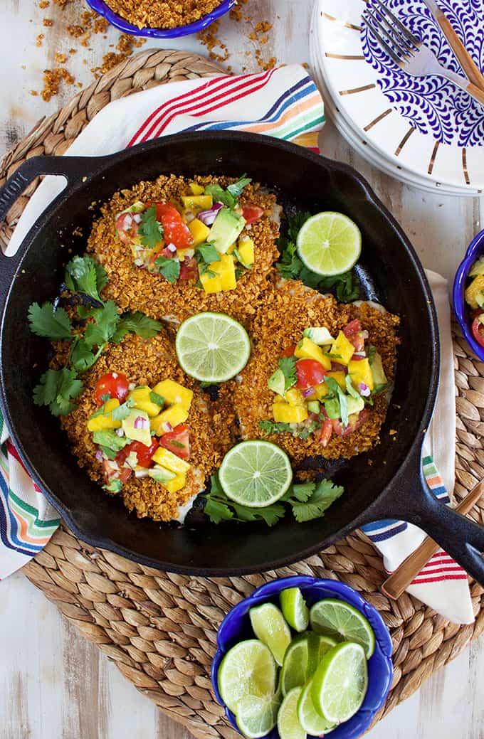 Tortilla Crusted Tilapia with Avocado Mango Salsa