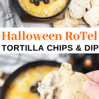Halloween RoTel Dip with Baked Tortilla Chips