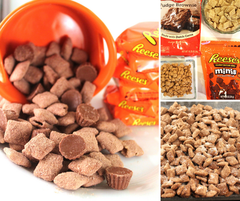 reeses peanut butter cup puppy chow or muddy buddies snack recipe