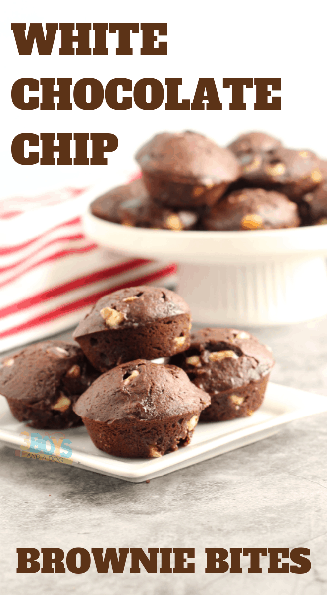 white chocolate chip brownie bites