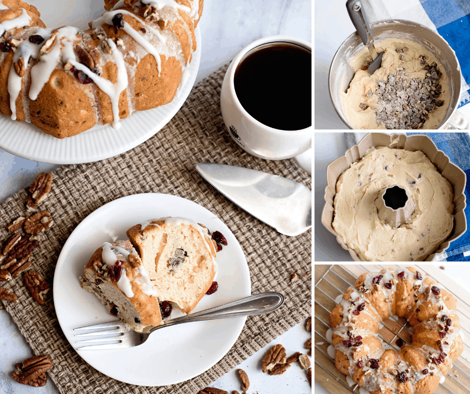 homemade cranberry pecan pound cake for breakfast or dessert