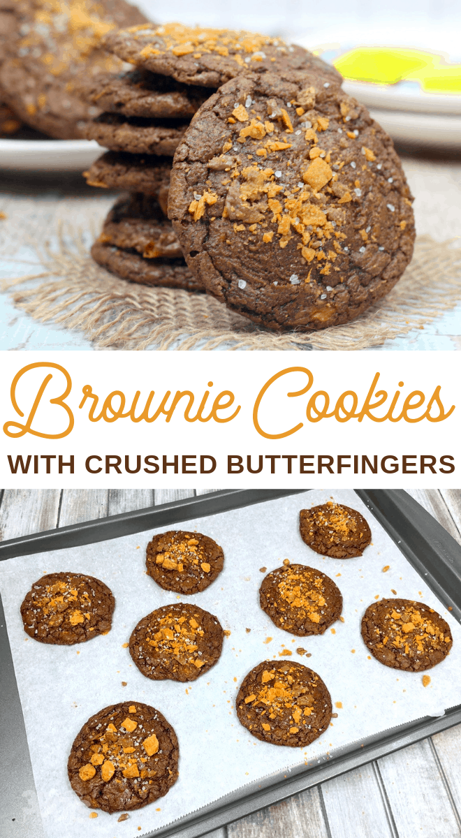crushed butterfinger brownie cookies