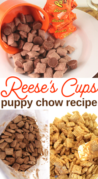 chex cereal and Reeses peanut butter cups makes puppy chow recipe