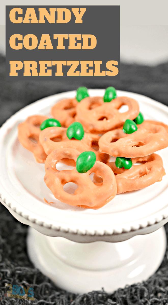 candy coated pretzel pumpkins