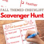 Free Autumn Printable Scavenger Hunt Checklist