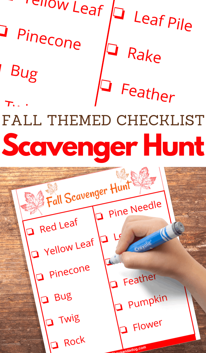 Free Autumn Printable Scavenger Hunt Checklist