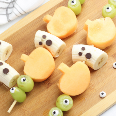 fruit kabobs for a halloween party
