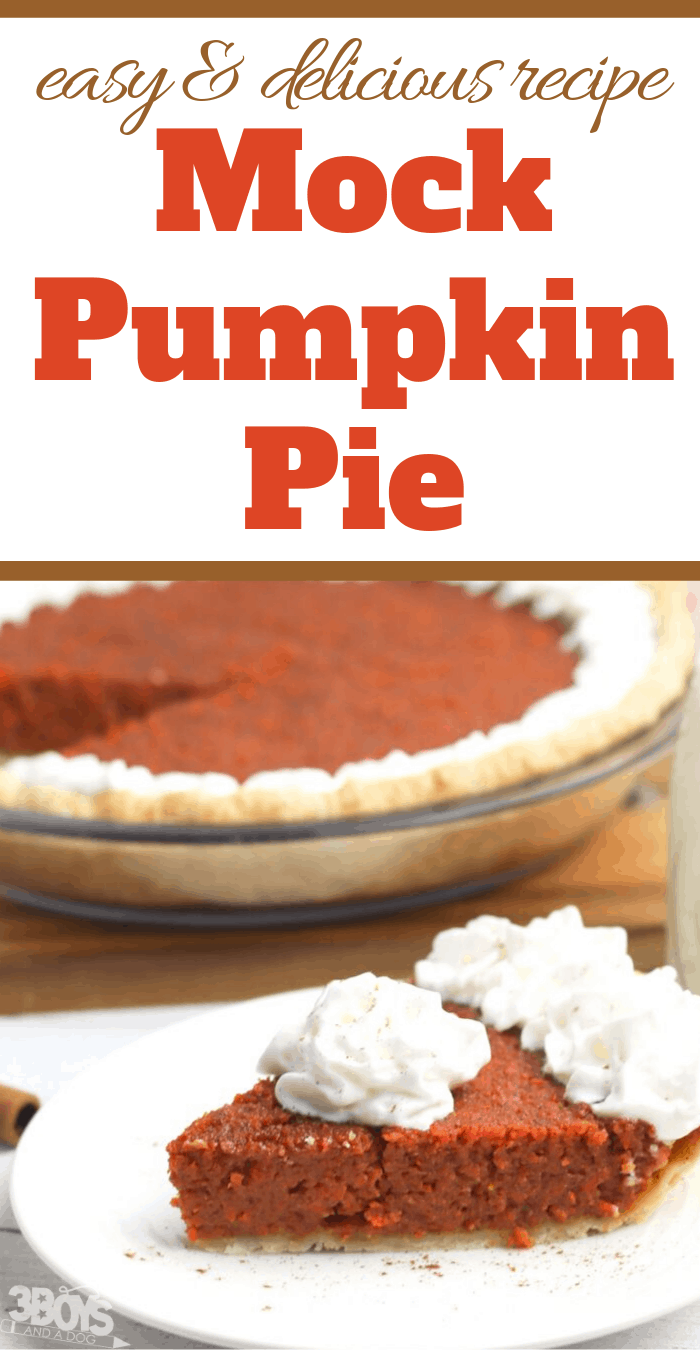Super Easy Mock Pumpkin Pie