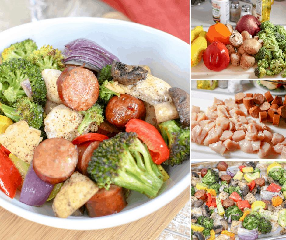 sheet pan sausage dinner with chicken and vegetables