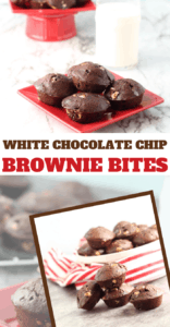 fudgy brownie bites with white chocolate chips